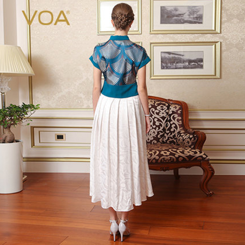 VOA Brand Silk Women Vintage Dresses Special Design Fake Two Pieces Draped Ankle-Length Print Short Turn-Down Collar A7619