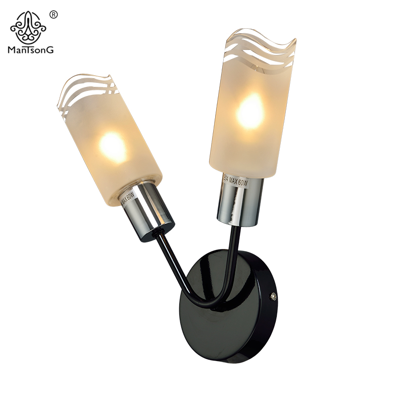 New Modern Wall Lamp Sconce For Living Room Bedroom Wall Light Iron Body Glass Lampshade Bathroom
