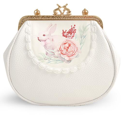 Angelatracy 2018 Handmade White Lace Soft PU Rabbit Short Bag Frame Chain Cross Body Floral Flower Mouth Gold Bag Handbags Totes in Shoulder Bags from Luggage Bags