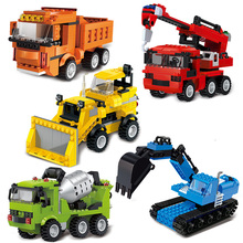 SLPF Assembled Toys 1 Change 3 City Engineering Truck Bulldozer Mixing Mining Vehicle Blocks Puzzle Assembly Toy Model Boy D04