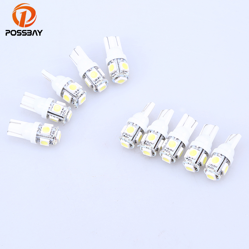 POSSBAY 10 Pcs White 5-SMD 5050 T10 LED Wedge Canbus Fog Light Side Wedge Tail Lamp Bulbs Car Light LED