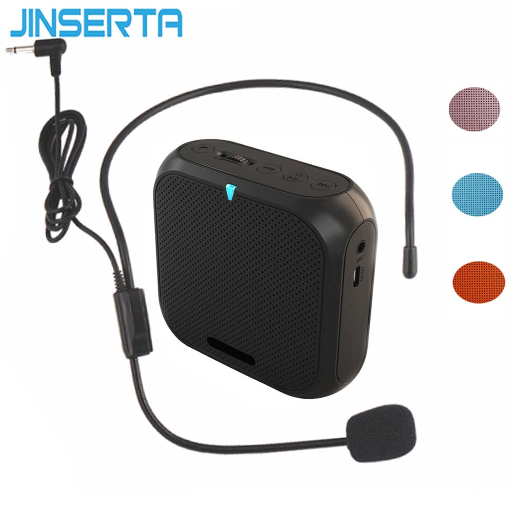 JINSERTA Portable Speaker Amplifier Mini Voice Megaphone Waist Band Clip Support TF Card U Disk for Teacher Tour Guide Promotion rolton k300 megaphone portable voice amplifier waist band clip support fm radio tf mp3 speaker power bank tour guides teachers