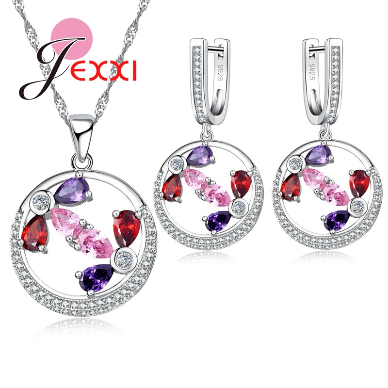 Bridal-Sets Cubic-Zircon Jewelry Crystal Wedding-Engagement Silver Fashion Luxury Round