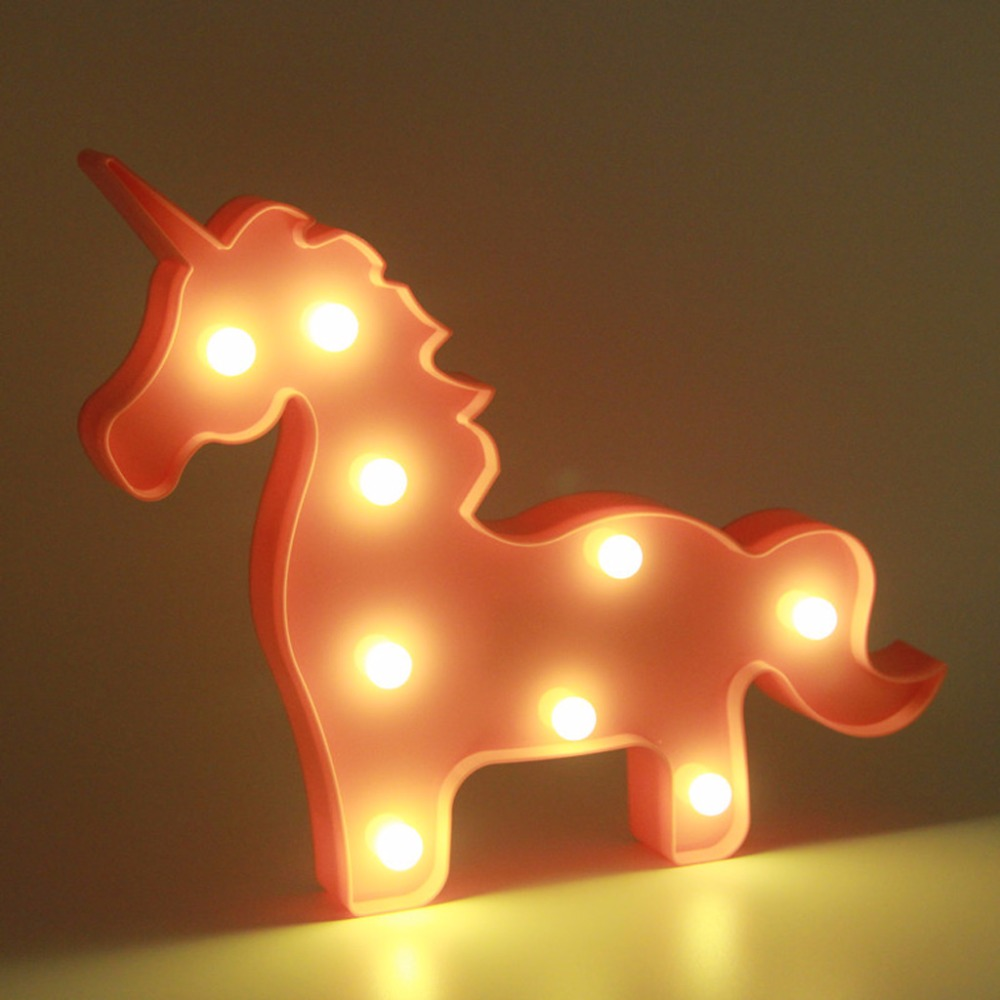 2017 NEW 3D Marquee Lamp With 9LED Battery Operated Night Light Warm White Pink Unicorn APR29