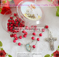 free ship 10pcs/pack perfume Rose scented wood rosary catholic prayer beads with pope center & plastic saint case good offer