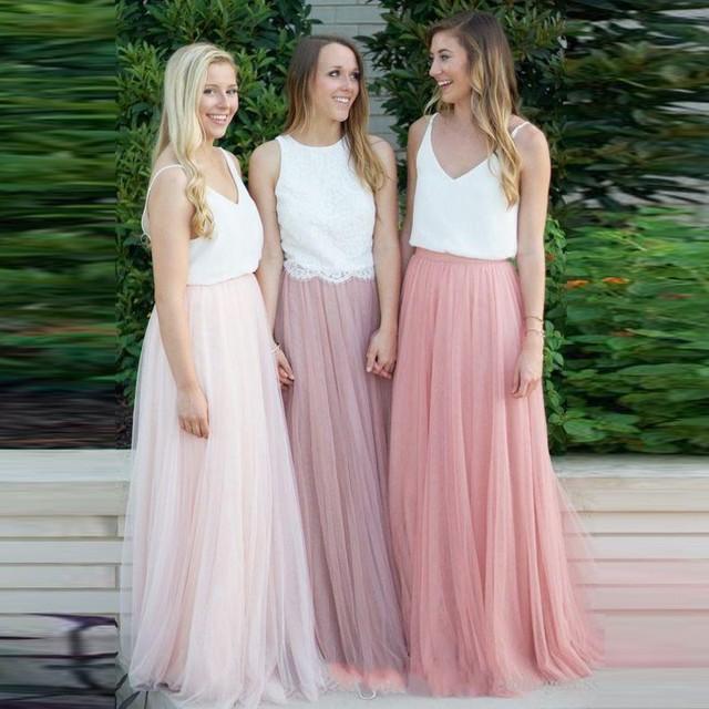 pas cher femmes longue jupe pour le mariage jupe solide tulle jupes rose faldas demoiselle d. Black Bedroom Furniture Sets. Home Design Ideas
