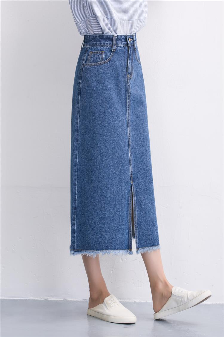 Slits a word denim skirt female 2016 new winter high waist a word length denim skirt 11