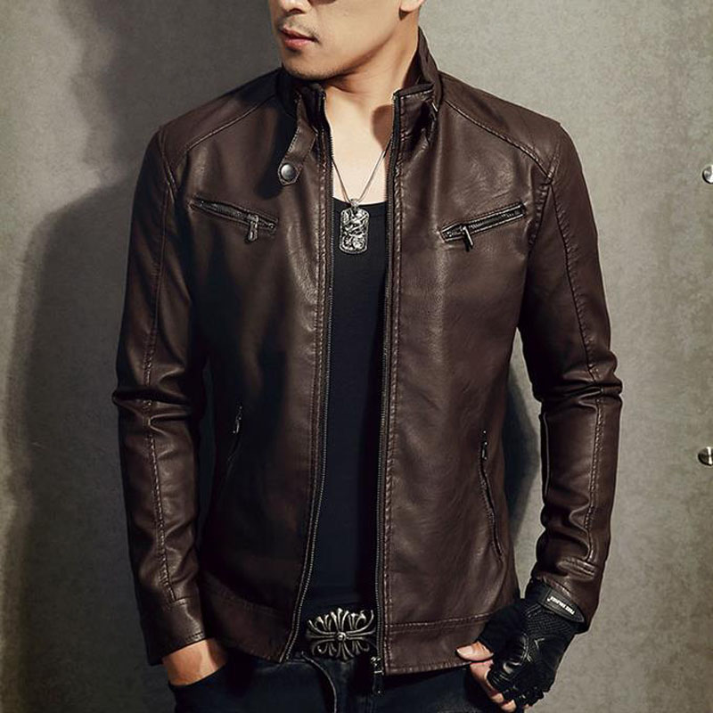 Men Genuine Leather Jacket Zipper 2019 New Arrival Autumn Slim Short Male Moto Sheepskin Leather Jacket Biker Teenage Boy Spring