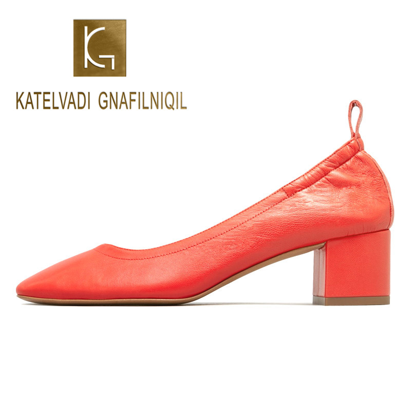 Shoes Women Heel 2-Inch-Block Pumps-Size Orange Rounded-Toe Office Genuine-Leather Fashion