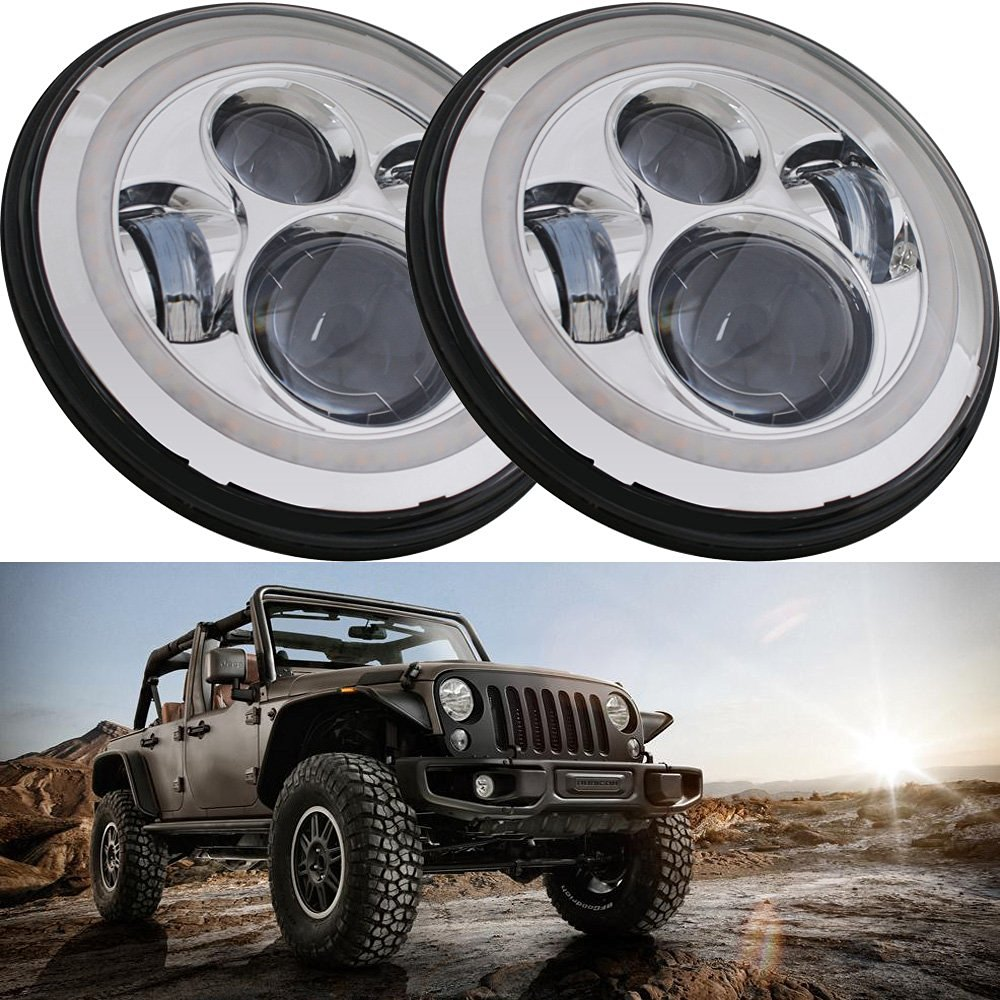 7 LED Headlights Full Ring Halo Angle Eyes For Jeep Wrangler JK LJ TJ LED Projector Headlights For Land Rover Defender
