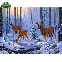 YUMEART 5D FAI DA TE Pittura Diamante Inverno Neve Foresta Punto Croce Alce In The Woods Rhinestone Del Ricamo Cervi Mosaico Della Decorazione Della Parete(China)