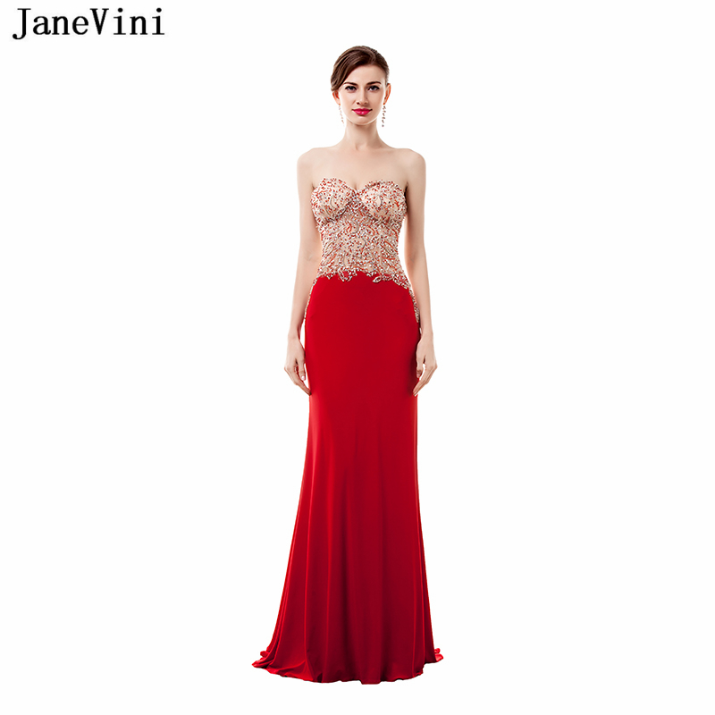 JaneVini Sexy Red Long   Bridesmaid     Dresses   for Women Satin Sweetheart Illusion Back Mermaid Prom   Dress   Beading Formal Party Gowns