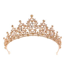 New Luxury Handmade Rhinestone Bridal Crown Tiaras Gold Crystal Diadem Tiaras for Bride Headbands Wedding Hair Accessories(China)