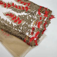 Fashion French Lace Fabric With Beads And Stones African Tulle Embroidered Flower Transparent Net Lace Fabric For Wedding 30