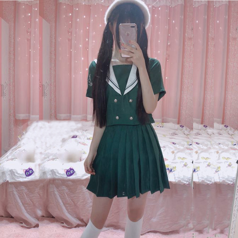 New 2018 Hot Japanese School Uniform Girls Korean Uniform School Wear Summer Autumn Green Navy Style Shirt +Skirt Clothing