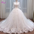 Fmogl Vestido de Noiva Appliques Scoop Neck Lace Ball Gown Wedding Dresses 2019 Vintage Half Sleeve Pearls Princess Bridal Gown