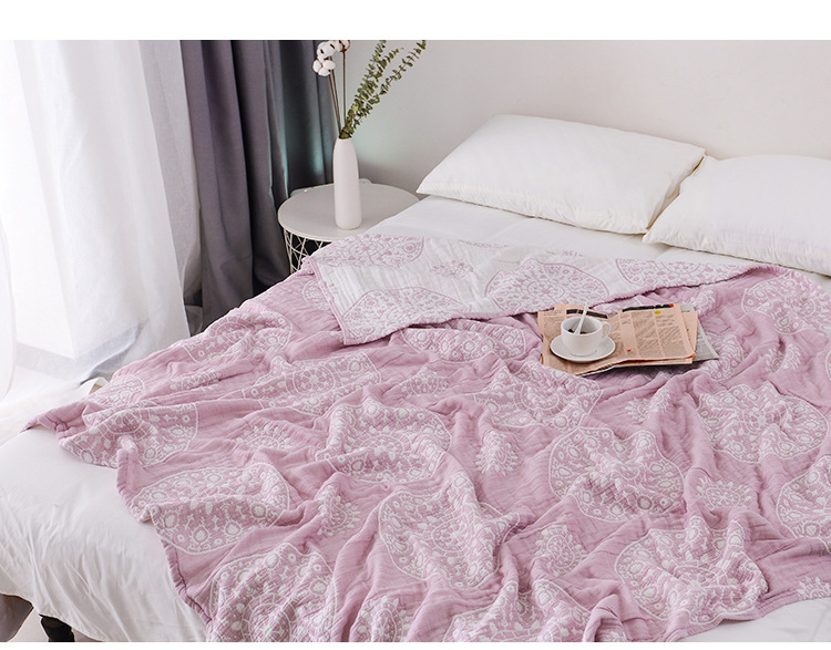 Junwell 100% Cotton Muslin Blanket Bed Sofa Travel Breathable Chic Mandala Style Large Soft Throw Blanket Para Blanket