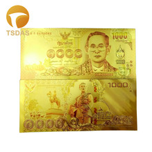 New Thailand 1000 Baht Bill Gold Foil Banknote With Colors 24k Plated Note 10pcs/lot