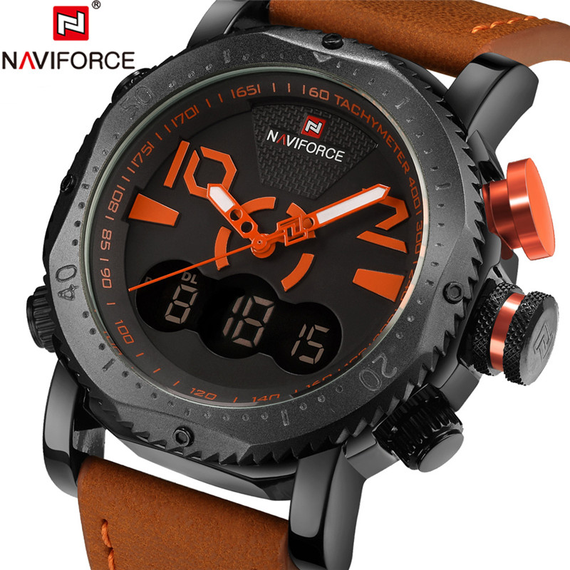 NAVIFORCE Reloj Militar Men Watch Sport Mens Watches Top Brand Luxury Army Leather Analog Digital Quartz Male Clock Watch Wrist ochstin square luxury brand military watch men analog quartz wrist watch leather clock man new sport men watch army reloj hombre