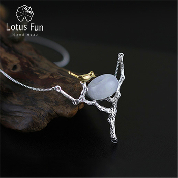 Lotus Fun Real 925 Sterling Silver Natural White Jade Handmade Fine Jewelry Retray Bird Necklace with Pendant for Women Collier