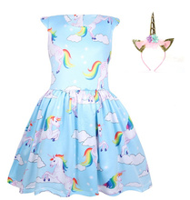 2019 new childrens clothing unicorn children summer ice silk girls cartoon leisure