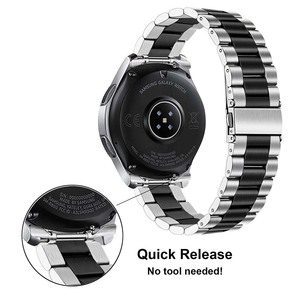 Image 2 - Quick Release Stainless Steel Watchband + No Gap Adapter for Samsung Galaxy Watch 46mm Gear S3 Band Silver Black Strap Bracelet