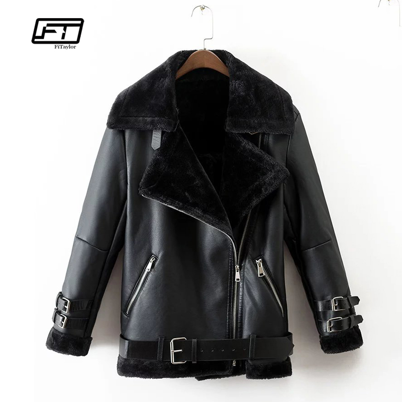 Fitaylor Women Faux   Leather   Lambs Wool Fur Collar Jacket Coat Warm Thick Black Punk Female Turn-down Collar Faux Lamb Outerwear