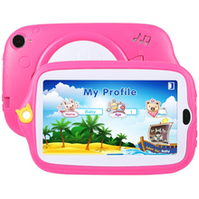 Kids Education Tablet PC 7.0 inch 1GB+8GB Android 4.4 Allwinner A33 Quad Core Wi-Fi  Bluetooth with Holder Silicone Case(Pink)