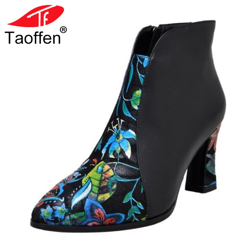 TAOFFEN Women High Heels Ankle Boots Genuine Leather Shoes Woman Warm Fur Short Boots Print Flower Zipper Shoes Size 33-40TAOFFEN Women High Heels Ankle Boots Genuine Leather Shoes Woman Warm Fur Short Boots Print Flower Zipper Shoes Size 33-40