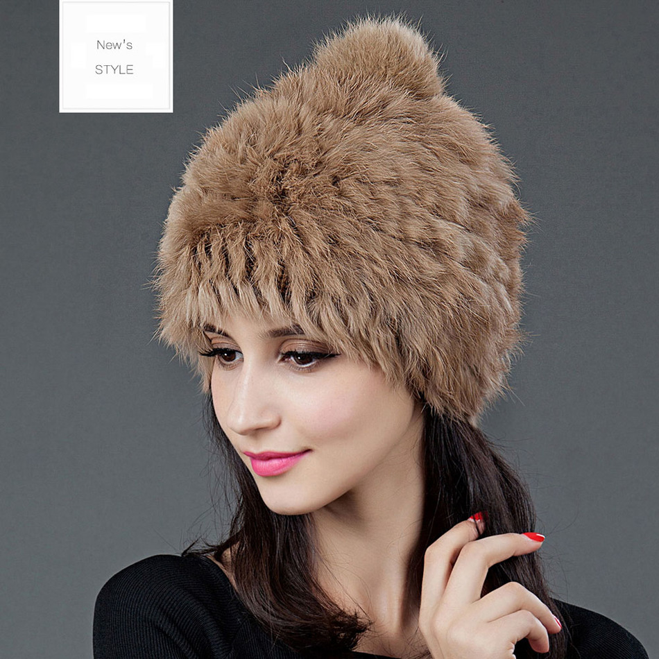 2016 New Arrival Women's Winter Hat National Rabbit Fur Material Sweet Lovely Cap 7 Colors Available Solid Elegant Beanies