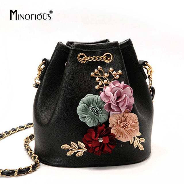 MINOFIOUS New Women Floral Handbags Designer Pearl Leather Small Shoulder  Bags Chain Drawstring Bucket Bag Fashion Crossbody Bag
