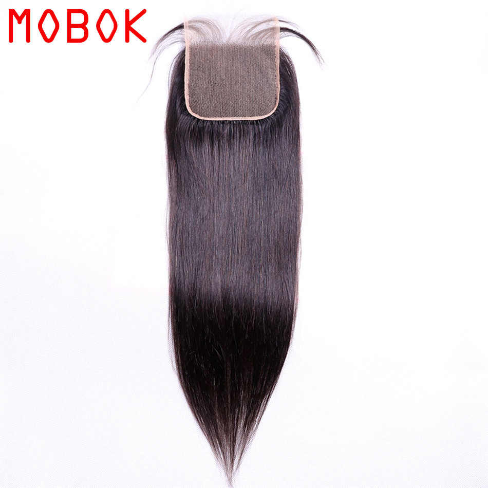 MOBOK 1 Piece 5x5 Lace Closure Staright Brazilian Human Hair Natural Color Remy Hair Middle/Free/Three Part Free Shipping