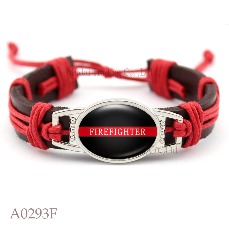 (10 PCS/lot) Firefighter Thin Red Line Adjustable Leather Cuff Bracelet for Men & Women Punk Casual Wristband Jewelry Gift