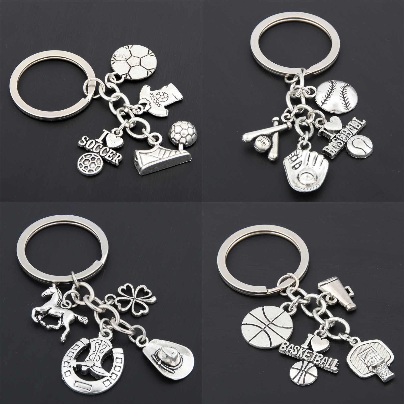 1PC I Love Football/Basketball/Baseball With Soccer Shoes Keychains Silver For Car Purse Bag Cowboy Gift Clover Charms Keyrings