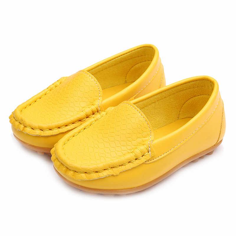 WOTTใหม่เด็กรองเท้าคลาสสิกแฟชั่นPUรองเท้าสำหรับสาวๆหนุ่มๆรองเท้าแบนสบายๆเด็กรองเท้า(สีเหลือง/สีแดง)