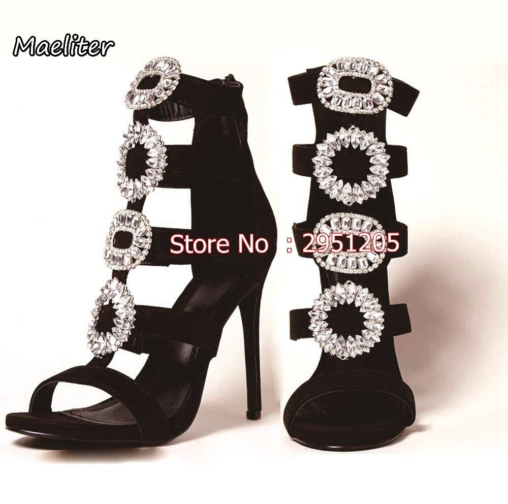 Choudory new Women Sandals diamond stud Thin high heels glitter rhinestone sandals Women Party Shoes wedding high heel crystals
