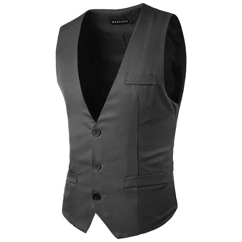 Düğün Elbise Yelekler Erkekler 2017 Bahar Yeni Tek Göğüslü Iş Erkek Yelek ve Yelek Rahat Slim Fit Parti Jile Homme siyah