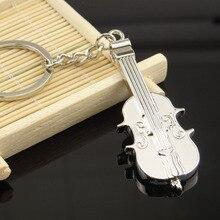 Freies verschiffen 50 teile/los großhandel metall zink-legierung musikinstrument violine Schlüsselbund tasche charme