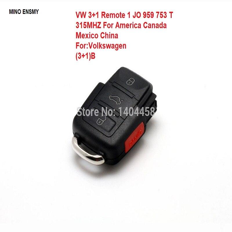 Auto for VW (3+1) B Remote 1 JO 959 753 T 315Mhz ES3015 For America Canada Mexico China free shipping|auto remote|vw remote|remote vw - title=