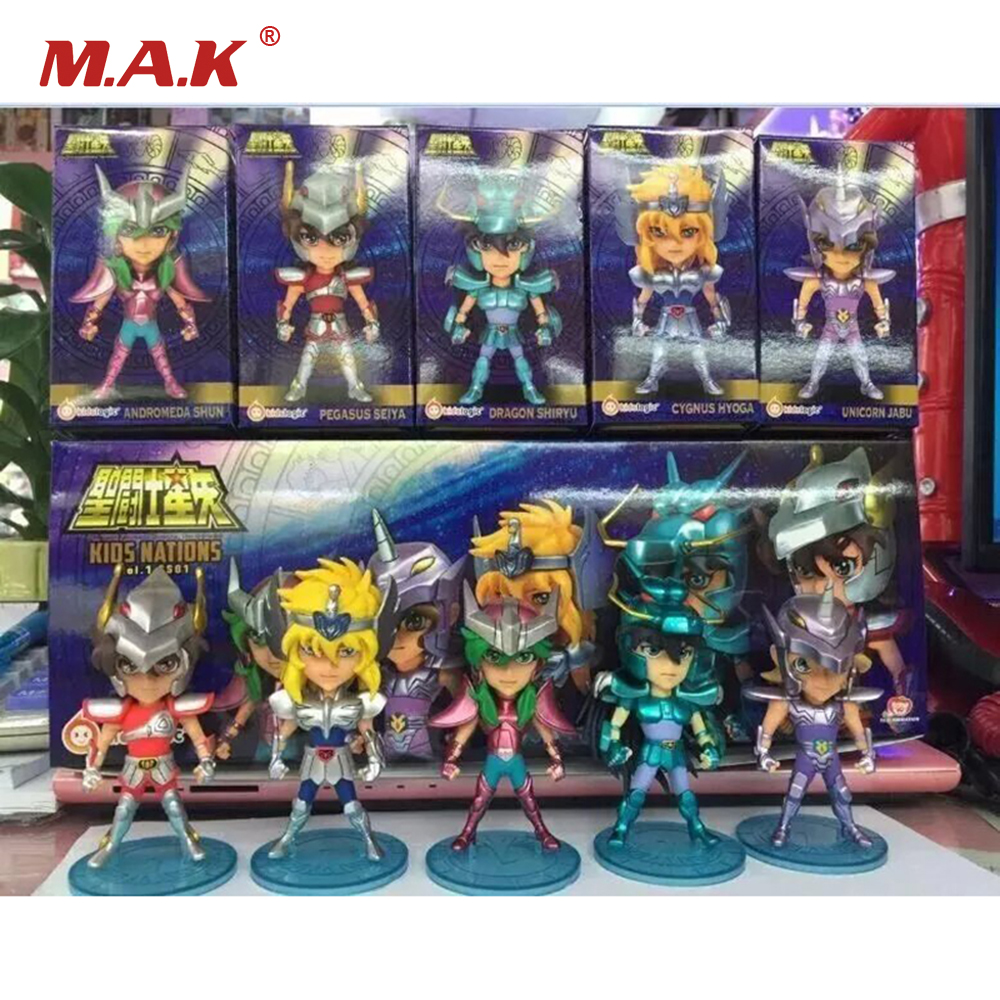 5PCS/Set Q Edition Saint Seiya PVC Action Figures 9CM High Anime Toys For Children Gifts Collections Displays with Color Box