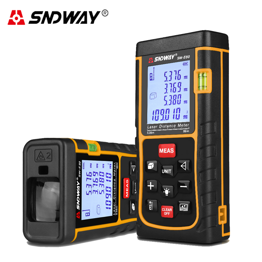 SNDWAY 80M 262ft handheld Laser distance meter Rangefinder Range Finder Laser Tape measure tool Area-volume tool hunting 80m handheld laser rangefinders digital laser distance meter infrared laser range finder tape ruler measure area volume tool