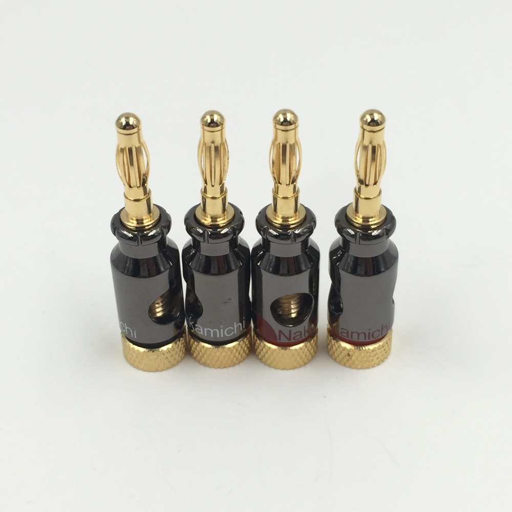 4Pcs Nakamichi 4mm Banana Plug Spiral Type 24K Gold Screw Stereo Speaker Audio Copper Terminal Adapter Electronic Connector  high end audio grade nakamichi ac 205 24k gold plated banana plug for diy speaker cable