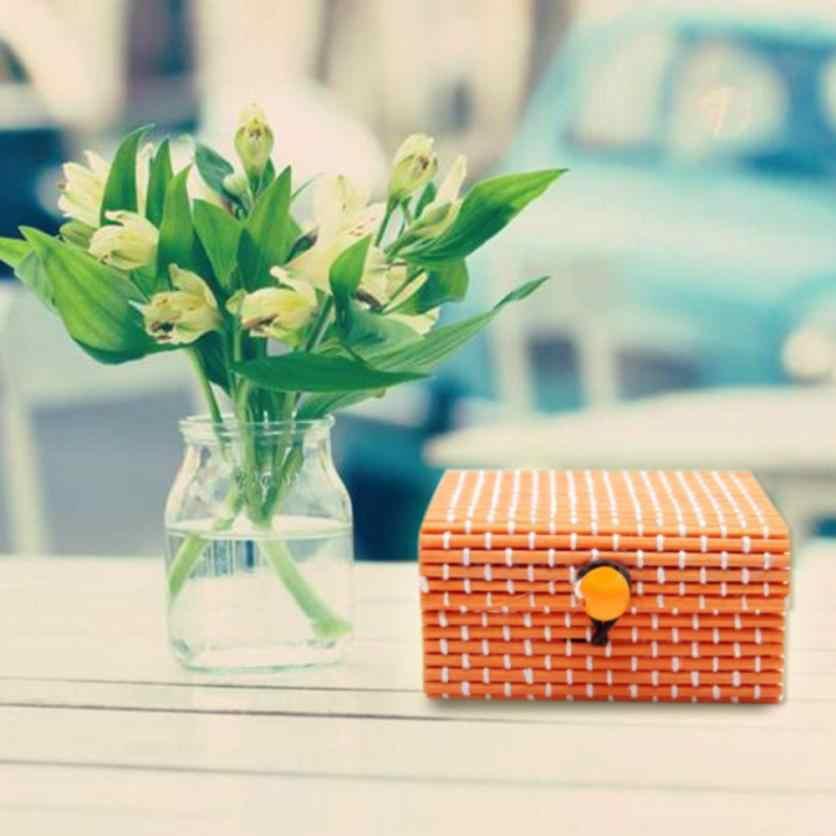 Caixa de Armazenamento De bambu Com Tampa De Armazenamento de Jóias Colar Brincos Acessórios Decorativos Para Casa 2018 Hot Venda Criativa Boxs