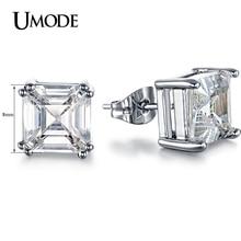 Umode 8 мм 2.5 карат Asscher вырезать CZ белый позолоченные имитация сообщение стад серьги мода ювелирных изделий для женщин UE0187B