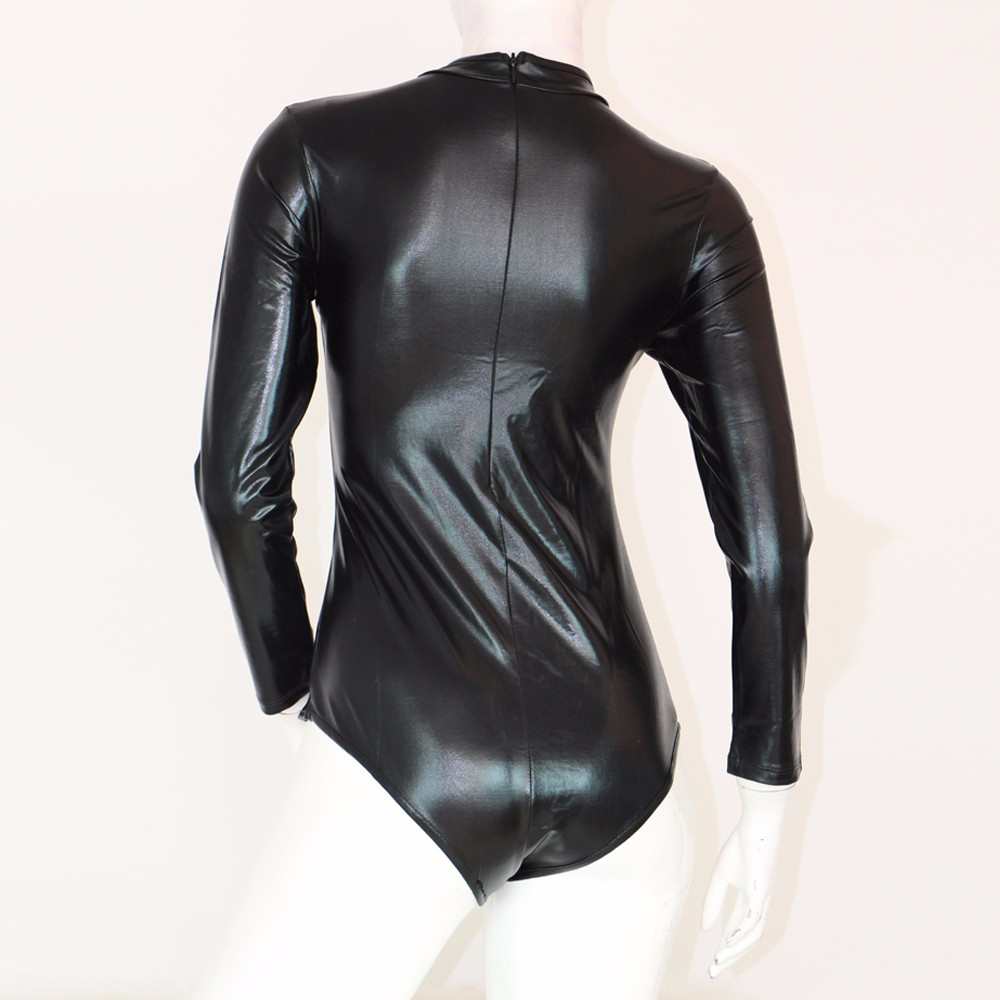 S 5XL Plus Size Faux Leather Bodycon Bodysuit Jumpsuit Lace Up Sexy Bodysuit Long Sleeves Bondage Women Sexy Vinyl Catsuit in Bodysuits from Women 39 s Clothing