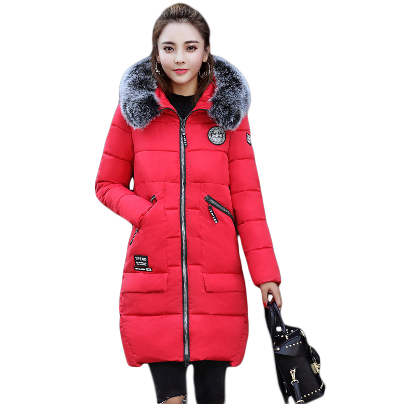 2017 New Fashion Winter Jacket Women Long Slim Large Fur Collar Warm Hooded Down Cotton Parkas Thick Female Wadded Coat CM1678 2017 winter new coat womens long slim hooded large fur collar thick cotton warm jacket for female zipper pattern epaulet padded