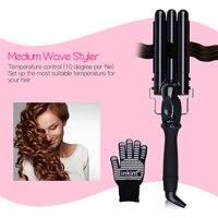 3 Size LCD Ceramic Triple Barrels Deep Wave Crimper Hair Curler Waver Electric Curling Iron Salon
