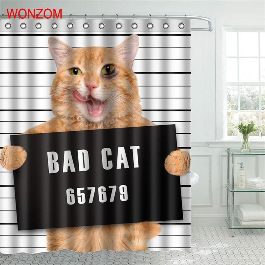 Wonzom Bad Cat Polyester Fabric Deer Shower Curtain Monkey