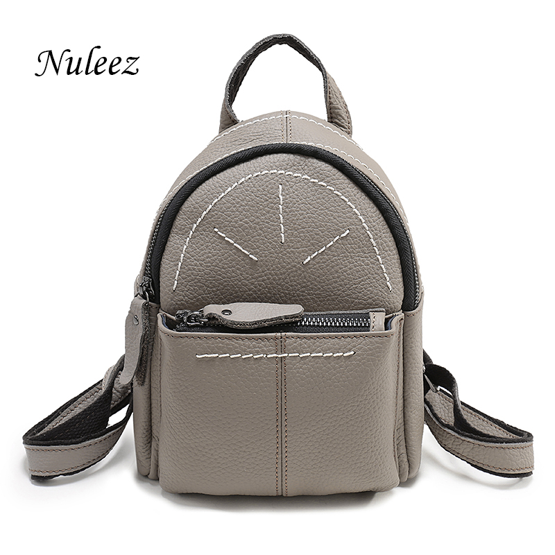 Nuleez Small Genuine Leather Women Backpack School Bags Black Gray Blue Purple Backpack For Teenage Girls Travel Bag Zipper 1227 zency genuine leather backpacks female girls women backpack top layer cowhide school bag gray black pink purple black color