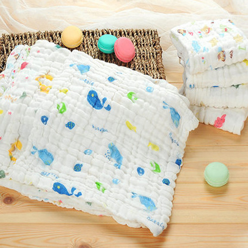US 15 OFF 10pcs New Cartoon Cotton Gauze Newborn Baby Towels Face Hand Bath Towel Feeding Bibs Baby Stuff Super Water Absorption Baby Care In